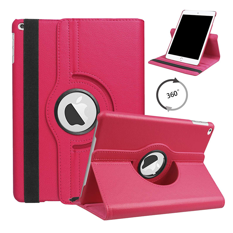 10. ROSE RED Rose Red For iPad 10 2 2019 2020 Smart Cover 360 Degree Rotating Case for Apple iPad 7th