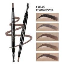 Natural maquiagem dupla cabeça super fino sobrancelha lápis olhos duradouros à prova dwaterproof água preto marrom fazer rotatable up caneta tslm1