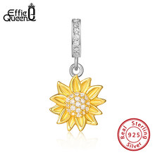 Effie Queen 100% 925 Zilveren Zonnebloem Kralen Gouden Hanger Charm Voor Vrouwen Originele Zilveren Armband Of Neckalce Sieraden ECB151