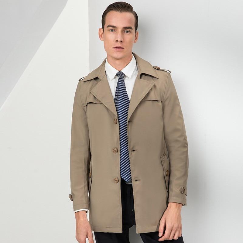 Printemps automne nouvelle marque à manches longues simple boutonnage revers hommes manteaux solides longueur moyenne en vrac décontracté coupe vent mâle Trench manteaux - 4