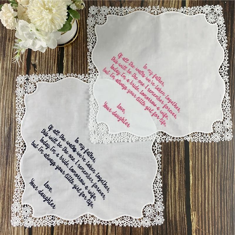 Set Of 12 Fashion Personalized  Wedding Handkerchief 12x12-inch  White Soft Cotton Lace Crochet Hankies Vitage Hanky
