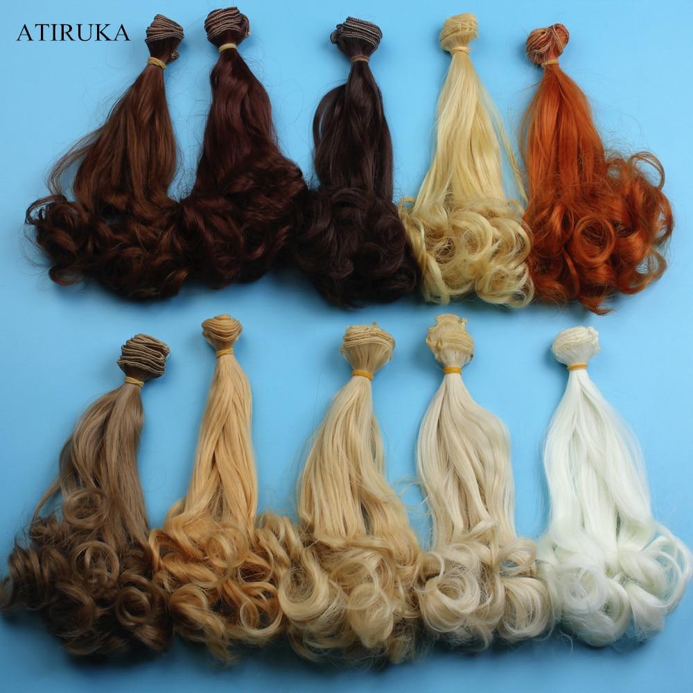 Bjd peruca acessórios para bonecas, 1 peça 20*100cm cabelo da boneca para 1/3 1/4 1/6 de alta temperatura fio encaracolado bjd peruca presente das crianças brinquedo
