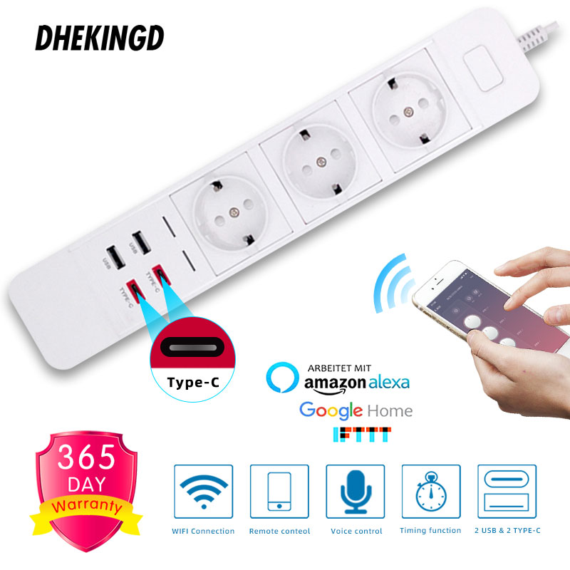 Smart Wifi Power Strip <font><b>2</b></font> Type-c <font><b>2</b></font> <font><b>USB</b></font> <font><b>3</b></font> AC Outlets EU Plug Charging Station Echo Alexa Google Home IFTTT Remote Voice Control image