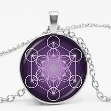 2019New Metatron Cube Divine Geometry Spirit Pendant Necklace Convex Dome Glass Six-pointed Star Magic Chakra Art Ladies Jewelry