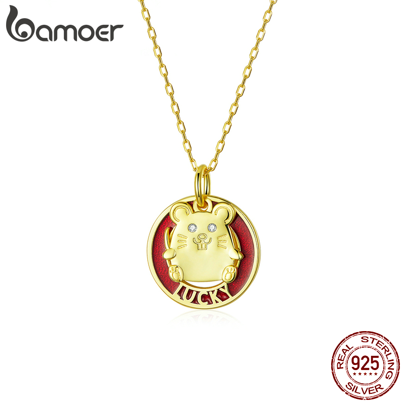 Bamoer 2020 New Spring Festival Mouse Animal Pendant Neckalce For Women Red Enamel Gold Color 925 Sterling Silver Jewelry SCN386