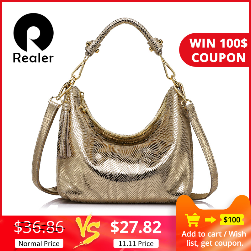Realer hobos delle donne del cuoio genuino borse di marca femminile serpentina modello di borsa a tracolla di alta qualità delle signore della borsa con la nappa