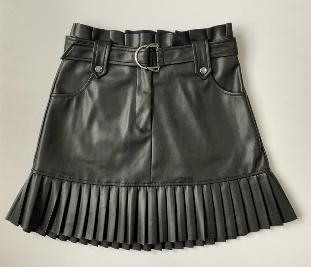 Women faux leather skirt XS-L 4size black, brown, dark green mini length A line pleated hem drop shipping image