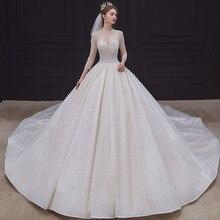 Custom Made Three Quarter Sleeve Full Beads Lace Up Back Shiny Ball Gown Wedding Dresses China Shop Online Vestido De Noiva