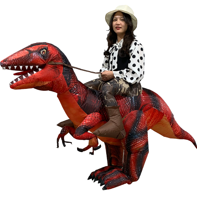 Adult Ride On Inflatable Dinosaur T Rex Costume Velociraptor Outfit Suit