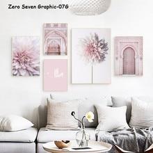 Póster de lona Mihrab para decoración de habitación, imagen artística de pared con diseño moderno de Dalias en color rosa para arquitectura de la Sala Islámica