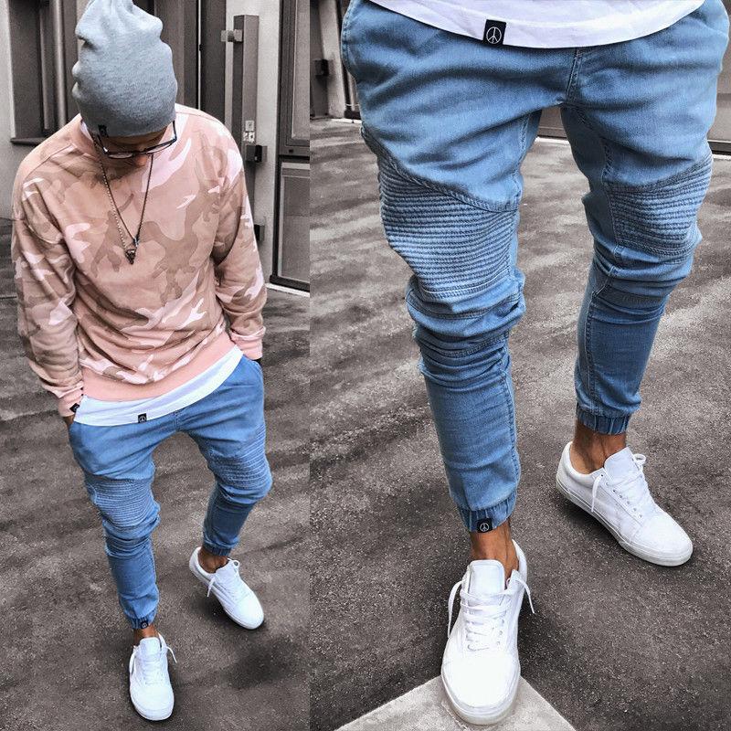 2020 Men's Stretchy Ripped Skinny Biker Jeans Destroyed Slim Fit Denim Pants Mens Elastic Waist Harem Pants Men Jogger Clothes