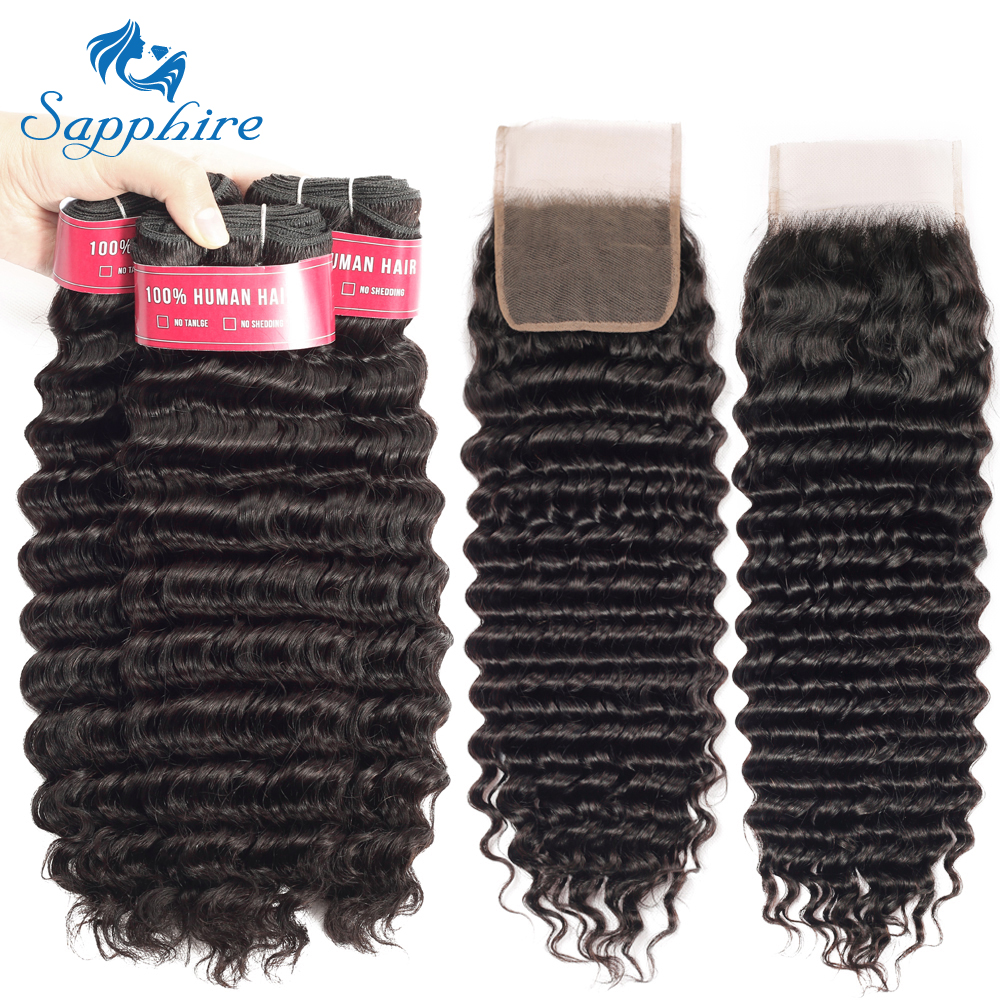Sapphire Brazilian Deep Wave Bundles With Closure Human Hair Bundles With Closure Remy Brazilian Hair Weave Bundles With Closure