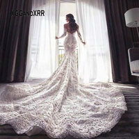 New Arrival Scoop Mermaid Lace Wedding Dress 2020 Scoop Long Sleeves Lace Applique Formal Bridal Gown Luxury Dubai Style