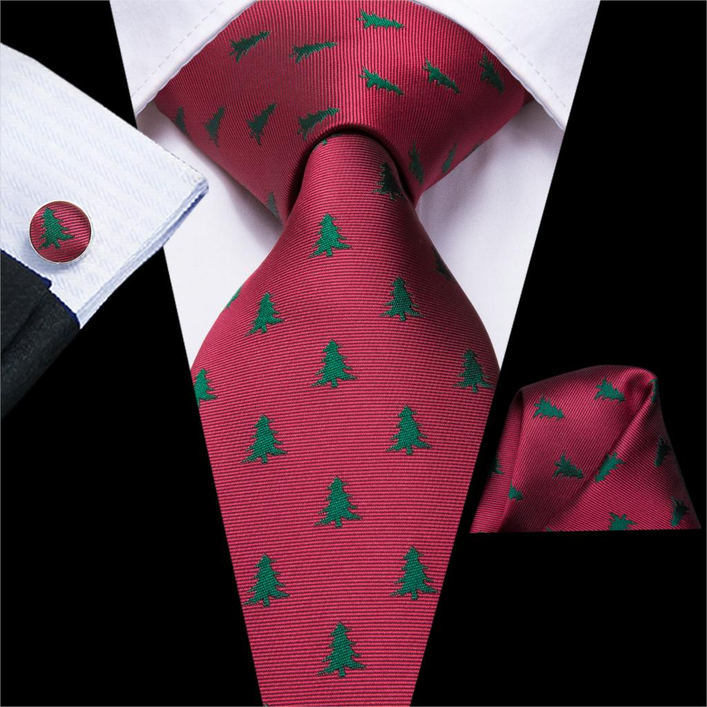Hi-Tie Christmas Ties For Men 100% Silk Hanky Cufflinks Set Gifts For Men Floral Jacquard Gravatas Men's Tie Party Large Necktie
