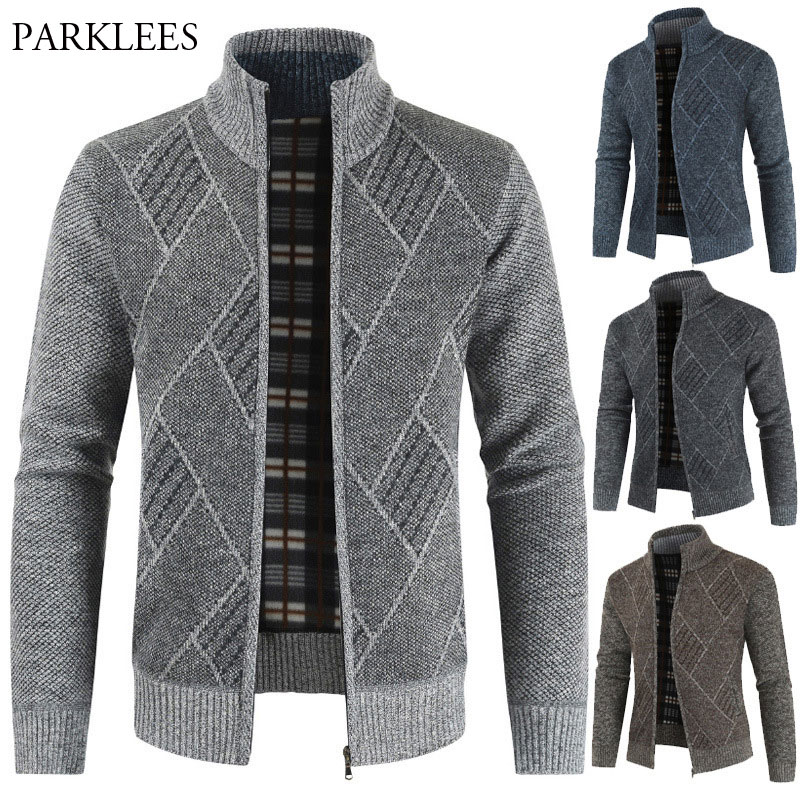 Winter Knitted Cardigan Sweater Men 2020 Plus Velvet Warm Mens Sweaters Coats Casual Slim Fit Thick Pull Homme Zipper Sweter 3XL