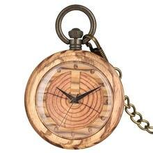 Rough Chain Quartz Wooden Pocket Watch Women Annual Ring Pattern Dial Men Pendant Watches Necklace Gift relogio de bolso