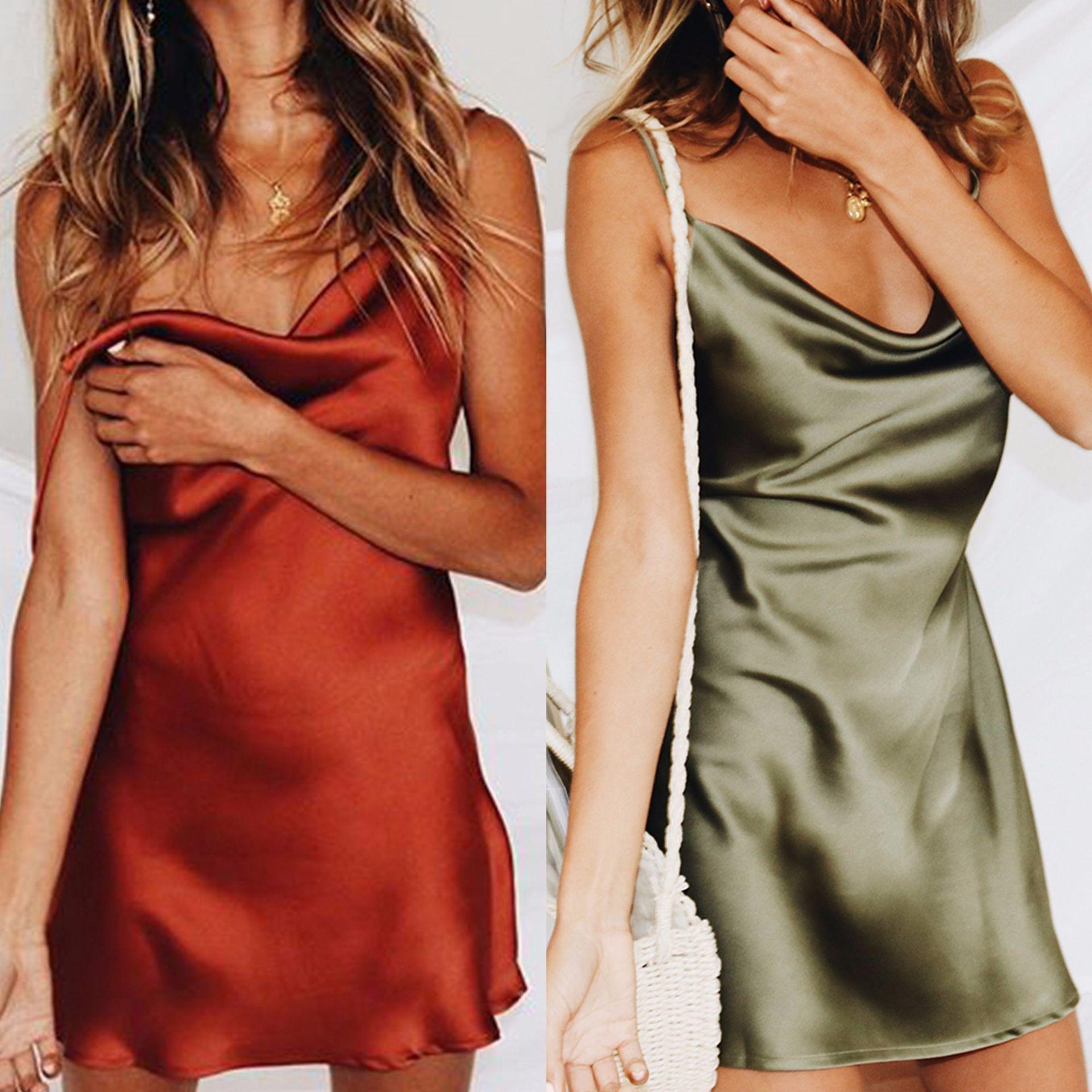Summer Satin Dress Women Sexy Strap Green Backless Night Club Silk Slip Dress 2019