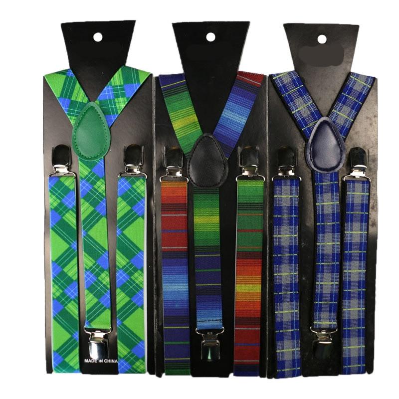 Hot Sale 2.5cm Width Adjustable Belt Elastic Unisex Adult Striped Suspender Creative Plaid Floral Braces Suspender High Quality