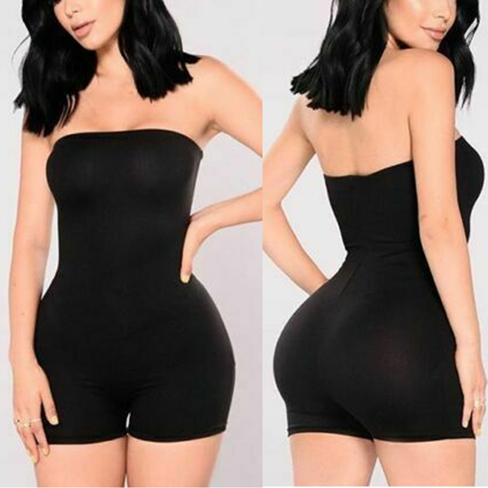 Summer Women Tube Jumpsuit Sexy Off-Shoulder Sleeveless Bodycon Trousers Solid Print Slim Tight Shorts Romper Playsuit Clubwear