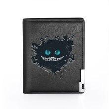 Portefeuille en cuir noir imprimé de Dream Alice au pays des merveilles pour hommes et femmes, porte-monnaie court de crédit