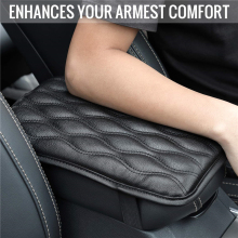Car Armrest Pad Black Leather Auto Central Center Console Arm Hand Rest Seat Box Mat Protective Covers Increased Cushion Styling