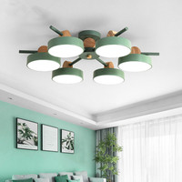 Japanese Chandelier With Metal Lampshades For Living Room Ceiling Mounted Wooden Lustres 220V Bedroom Lighting Fixtures