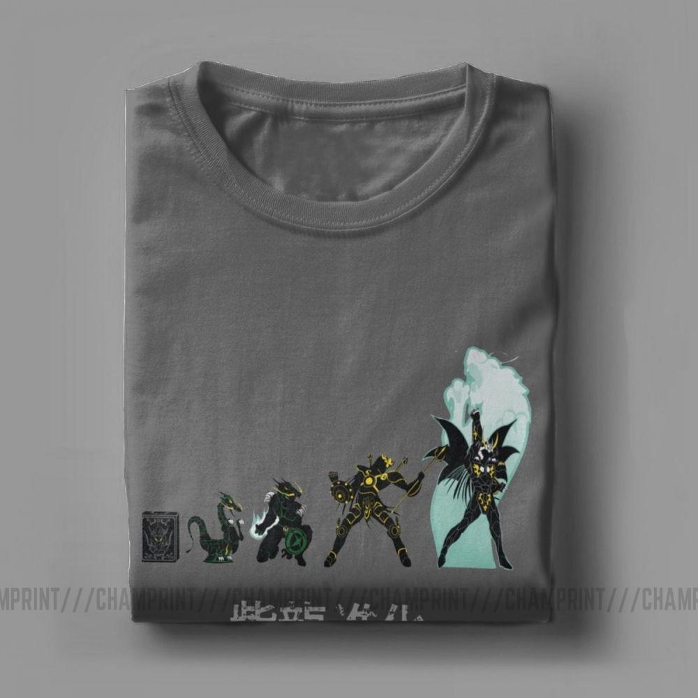 Image 5 - Men T Shirt Shiryu Evolution Unique Cotton Tee Shirt Short Sleeve Knights of the Zodiac Saint Seiya 90s Anime T Shirt Plus SizeT-Shirts   -