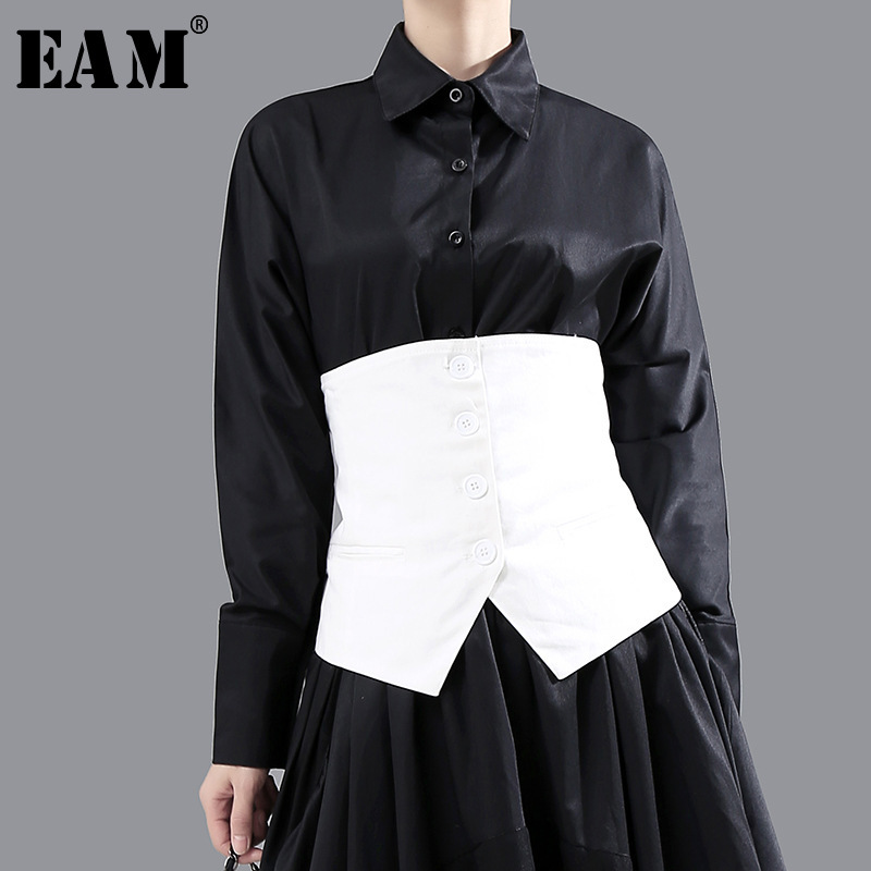 [EAM] Women Loose Fit Black Asymmetrical  Button Split Joint Vest New Sleeveless   Fashion Tide Spring Autumn 2020 1N839