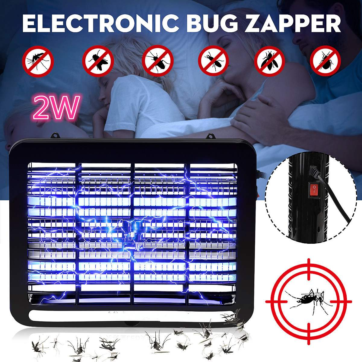 220V 2W LED Mosquito Killer Lamp LED Electronic Bug Zapper Energy Saving Indoor Killing Repeller Anti Pest Bug Fly Zapper Trap