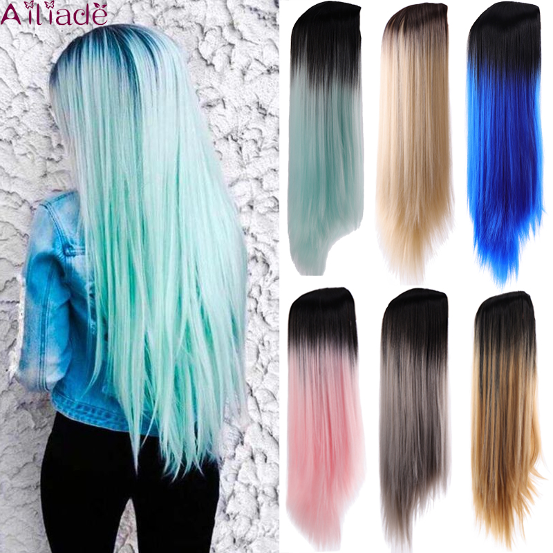 AILIADE Ombre Mint Green Straight Long Heat Resistant Synthetic Wigs For Women Wigs multiple colour can pick Cosplay Wigs