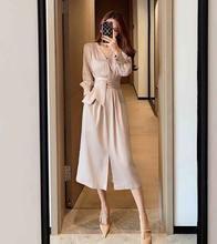 Женское элегантное офисное платье с длинным рукавом и v образным