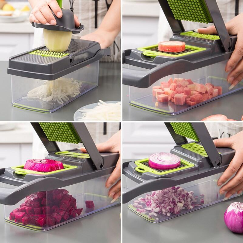 Coupe-légumes multifonctionnel, trancheur de fruits, râpe, broyeur, panier de vidange, trancheurs, Gadgets 8 en 1, accessoires de cuisine 3