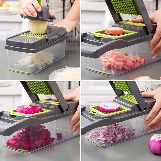 Multifunctional Vegetable Cutter Fruit Slicer Grater Shredders Drain Basket Slicers 8 In 1 Gadgets Kitchen Accessories 3