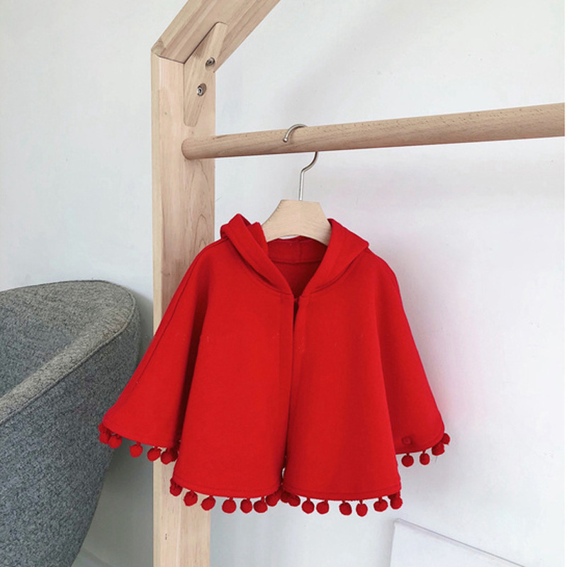2021 New Fashion Baby Girl Winter Clothes Red Hooded Cape Cloak Baby Clothes Boy Infant Hooded Cape Baby Girl Winter Clothes 1