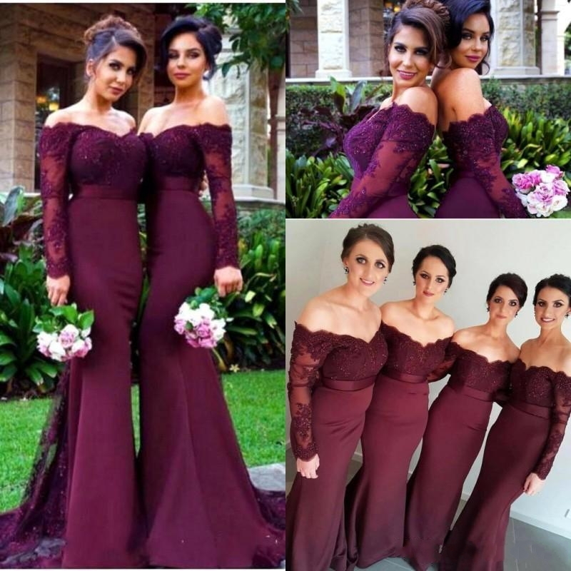 2019 Long Sleeves <font><b>Bridesmaid</b></font> <font><b>Dresses</b></font> <font><b>Sexy</b></font> Backless Off Shoulders Appliques Sequins Long Prom Gowns <font><b>Bridesmaid</b></font> <font><b>Dress</b></font> Formal image