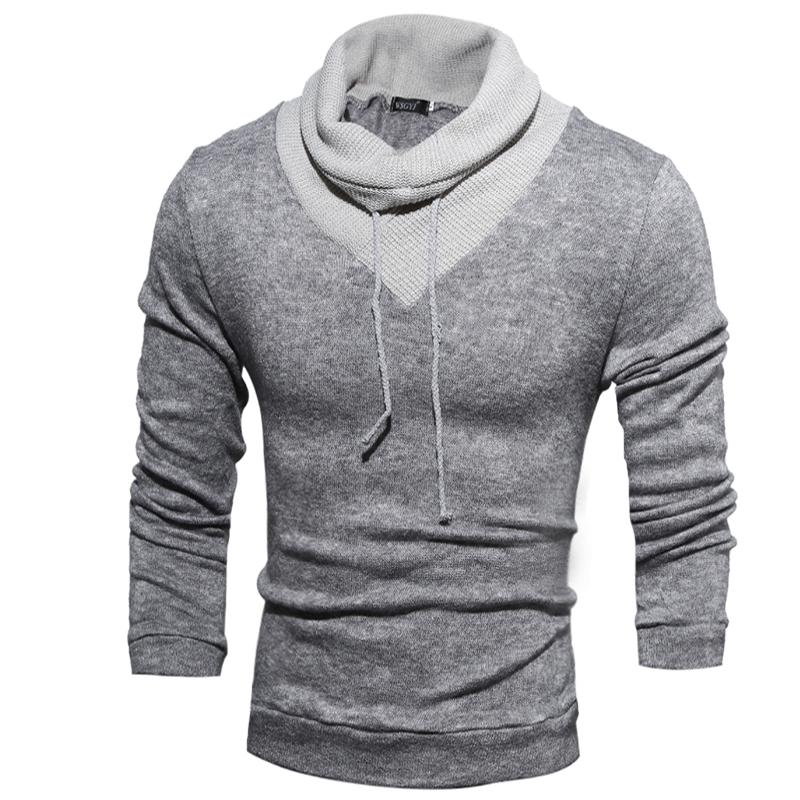 New Fashion Mens Turtleneck Sweaters Man Pullover Patchwork High Collar Casual Sweater Knitted Drawstring Winter Tops