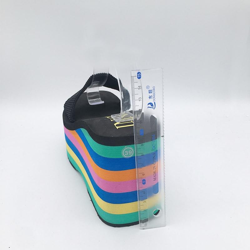 Image 5 - High quality EVA Sole Women Rainbow stripes Slides Platform Wedge Thick Bottom Shoes High Heels sandals slippersSlippers   -