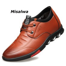 Misalwa 5 CM Elevator Mens Leather Casual Shoes Mens Casual Sneakers Lift Height Increasing Men Shoes British Fashion