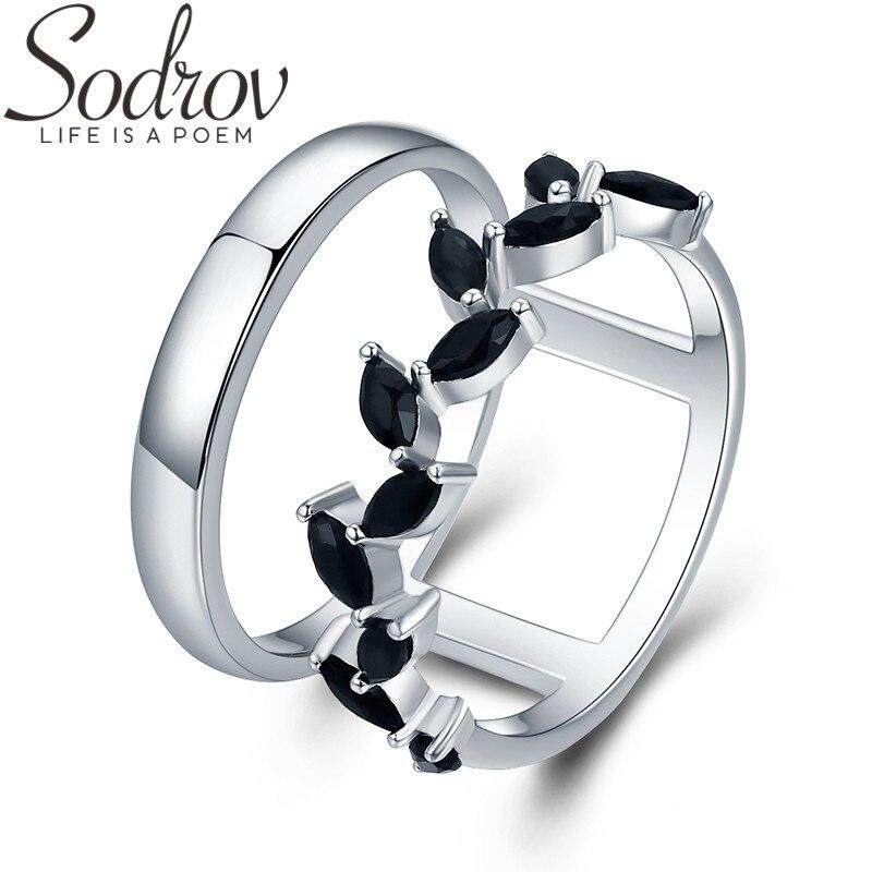 SODROV Hyperbole 3.7g 925 Sterling Silver Fine Jewelry Trendy Engagement Bague Black Spinel Leaf Women's Wedding Ring G001