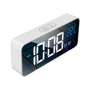 Image 2 - Bedside Wake Up Digital Mirror Led Music Alarm Clock with Snooze Temperature Thermometer Acoustic Voice Control Backlight
