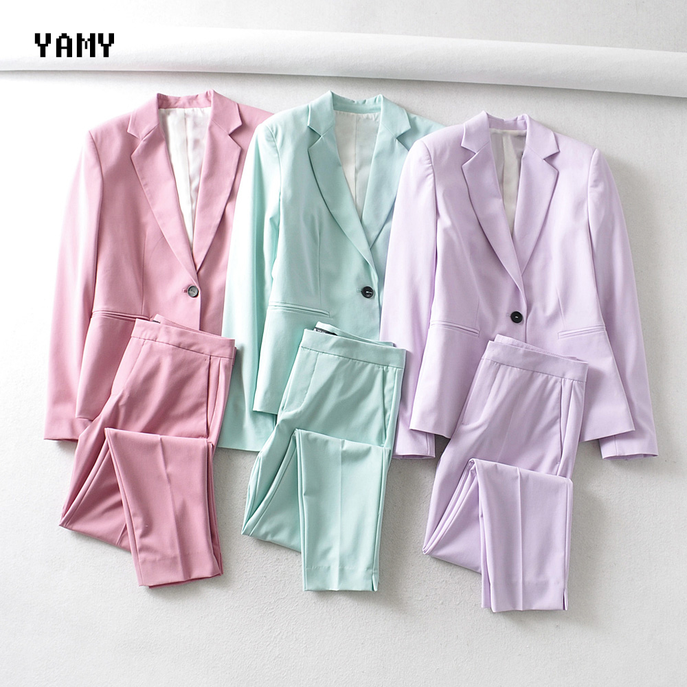 Green/Pink/Purple Color Womens Basic Blazer+Pant Suit Sets Long Sleeve Lapel Collar Office Lady Zoravicky Blazers Solid Pant Set