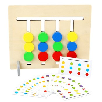Four-Color Fruit Logic Game Double-Sided Dual-Use Wooden Montessori Enlightenment Teaching Aids Children Educational Toys flyingtown montessori teaching aids balance scale baby balance game early education wooden puzzle children toys