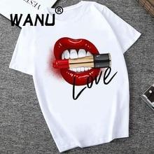 Женские топы с принтом в виде красных губ, футболки с круглым вырезом и коротким рукавом, женские футболки, универсальные белые футболки, Забавные футболки для девочек
