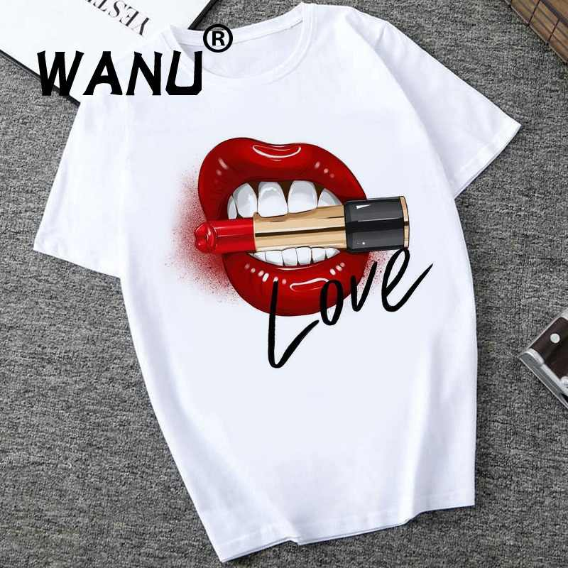 2019 Women Tops Red Mouth Lip Love Print T Shirts Base O-Neck Short Sleeve Women Tshirt All-match White Tee Funny girls Shirt
