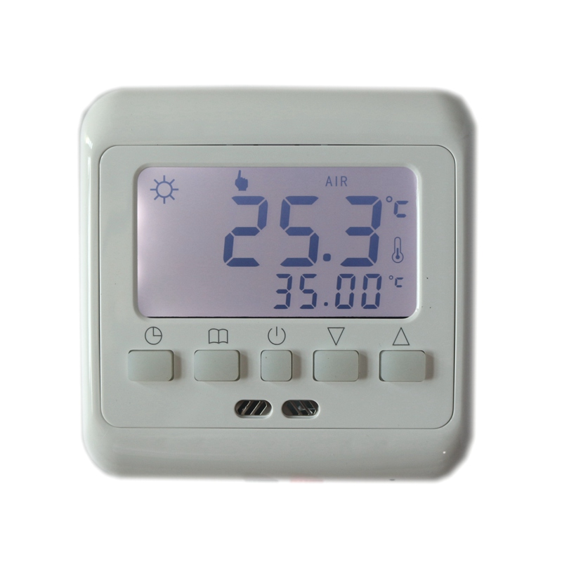Weekly Programmable Temperature Controller Floor Heating Thermostat Touch Screen White LCD Backlight BYL104B With NTC Sensor