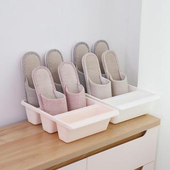 Thick Plastic Three-grid Vertical Shoe Storage Box Simple Solid Color One-piece Household Frame Shoe Shelf Organizer Home Goods