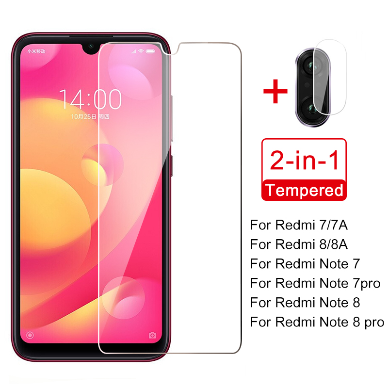 2-in-1 glass on Xiaomi Redmi Note 7 8 Pro 9s 8T Glass Screen Protector Camera Lens Film for redmi 7 8 7a Note 9 7 8 Pro Glass(China)