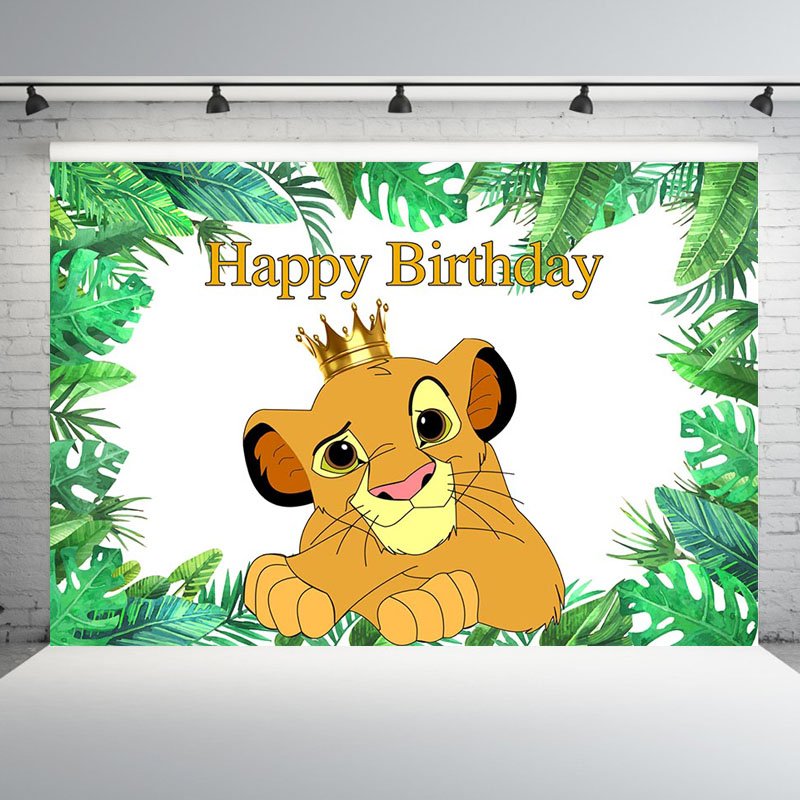 Mehofoto Green Leaves Cartoon Lion King Backdrop Boys Happy 1st Birthday Party Backgrounds for Photo Studio Customized 7x5FT