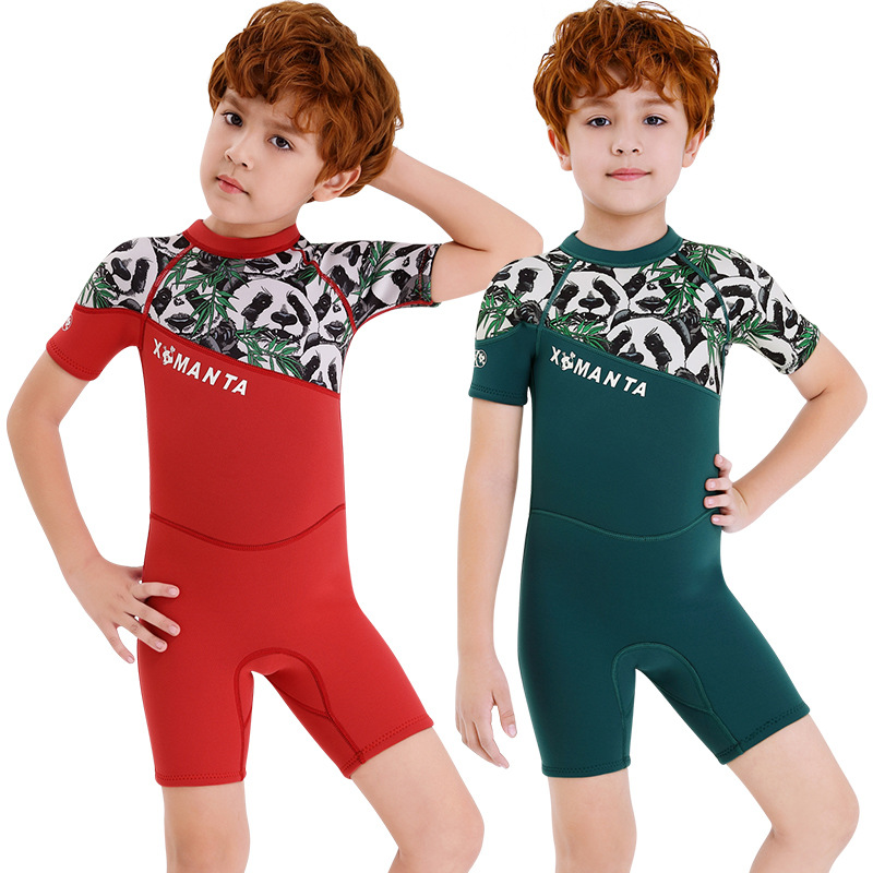 KID'S Swimwear Men's One-piece Short Sleeve 2.5 Mm Children Warm Sun-resistant Swimwear Outdoor Snorkeling Surfing Diving Suit