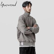 Yasword 2019 Turtleneck Sweatshirt For Men High Neck Hoodie Loose Tracksuit Pullover Male Tops Outwear Sportswear